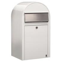 Postilaatikko Grande, 60x32x27cm, valkoinen RAL9016, rst-luukku, kampanjatarjouksena nimikyltti kaupan päälle!