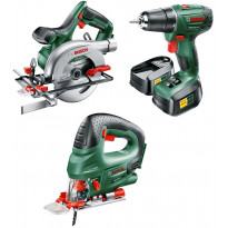 Rakentajan akkukonesetti Bosch, sis. porakone, pistosaha, pyörösaha, kaksi akkua, laturi ja työkalukassi