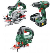 Rakentajan akkukonesetti Bosch, sis. porakone, pistosaha, pyörösaha, kaksi akkua, laturi ja työkalukassi, Verkkokaupan poistotuote