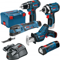 Akkukonesetti Bosch Professional 12V, 5-osainen + L-Boxx, 3x2.0Ah akuilla