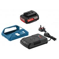 Laturi ja akku Bosch Professional GAL 1830W + GBA 18V 2.0Ah, johdoton, Verkkokaupan poistotuote