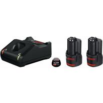Aloituspakkaus Bosch Professional 12V, 2x3.0Ah + GAL 12V-40, Verkkokaupan poistotuote