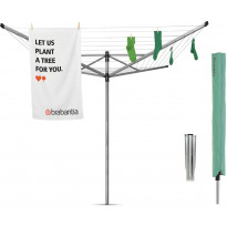 Pyykinkuivausteline Brabantia Lift-O-Matic Advance, 50m, metallinen maaterä + suojapussi + pyykkipoikapussi