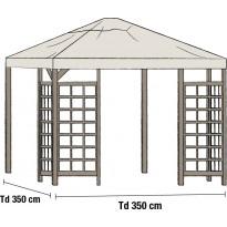 Paviljongin katto Hov 3.5x3.5m, beige
