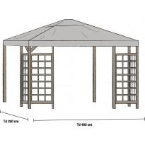 Paviljongin katto Hov 3x4m, harmaa
