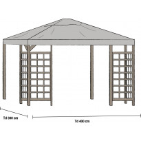 Paviljongin katto Hov 3x4m, harmaa, Verkkokaupan poistotuote