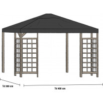 Paviljongin katto Hov 3.5x3.5m, musta