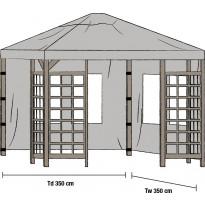 Paviljongin sivuverhot Hov 3.5x3.5m, 2kpl, harmaa