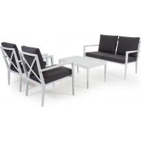 Sohvaryhmä Sobra, pinottava, 2-istuttava sohva + 2 nojatuolia, valkoinen/harmaa, sis. sohvapöydän