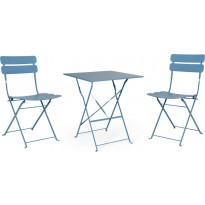 Pöytäryhmä Esino, taitettava, pöytä + 2 tuolia, sininen