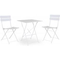Pöytäryhmä Esino, taitettava, pöytä + 2 tuolia, valkoinen