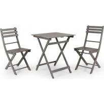 Pöytäryhmä Bruton, taitettava, pöytä + 2 tuolia, harmaa