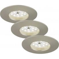 LED-alasvalo Briloner, 3-osainen, 3x5W, IP44, harjattu teräs