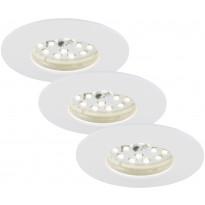 LED-alasvalo Briloner, 3-osainen, 3x5W, IP44, valkoinen