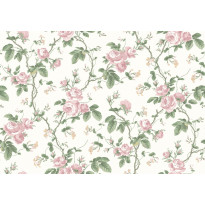 Tapetti Boråstapeter InBloom French Roses, 7212, 0.53x10.05m, valkoinen/roosa