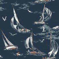 Tapetti Boråstapeter Marstrand II Sailboats, 8853, 0.53x10.05m, sininen