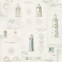 Tapetti Boråstapeter Marstrand II Lighthouse, 8867, 0.53x10.05m, valkoinen