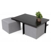 Sohvapöytä Kuutio kahdella rahilla musta/vaaleanharmaa