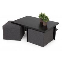 Sohvapöytä Kuutio kahdella rahilla musta/tummanharmaa