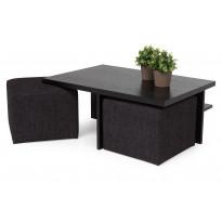 Sohvapöytä Kuutio kahdella rahilla musta/musta