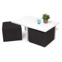 Sohvapöytä Kuutio kahdella rahilla valkoinen/musta