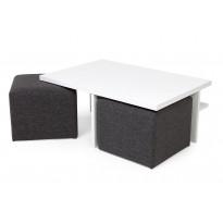 Sohvapöytä Kuutio kahdella rahilla valkoinen/tummanharmaa