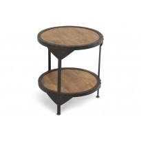 Sivupöytä Kiova Ø 50 cm musta/luonnonväri