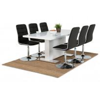 Ruokapöytä Apia Denton tuoleilla korkeakiiltoinen valkoinen