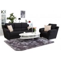 Sohvaryhmä München kolmen istuttava sohva+lepotuoli musta/harmaa
