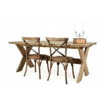 Ruokailuryhmä Sisilia vintage X-jalka 6 tuolilla
