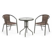 Parvekesetti Wells, Ø60cm pöytä, 2 tuolia, lasi/ruskea