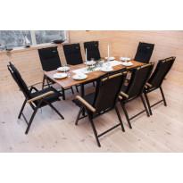 Ruokapöytä Naantali, 152-210cm, musta