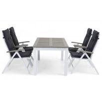 Pöytä Dalen 152-210 valko/harmaa jatkettava