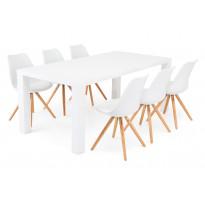 Ruokailuryhmä Chandler/Nizza valk/tammi 6 tuolia