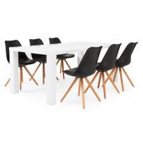 Ruokailuryhmä Chandler/Nizza valk/musta/tammi 6 tuolia