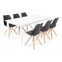 Ruokailuryhmä Chandler/Bern valk/musta/tammi 6 tuolia