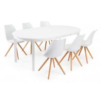 Ruokailuryhmä Chandler/Haag 6 tuolia valkoinen/tammi