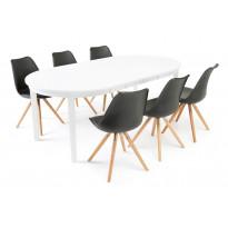 Ruokailuryhmä Chandler/Haag 6 tuolia valkoinen/musta