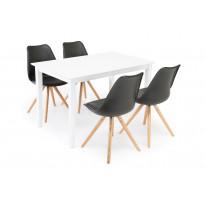 Ruokailuryhmä Chandler/Phoenix valk/musta/tammi 4 tuolia