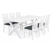 Ruokailuryhmä Malmö Bern tuoleilla valkoinen/harmaa