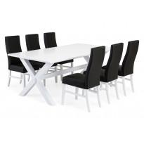 Ruokailuryhmä Malmö Cary tuoleilla valkoinen/musta