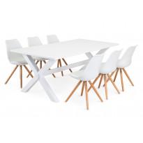Ruokailuryhmä Malmö Chandler tuoleilla valkoinen/tammi