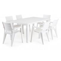 Ruokailuryhmä Ibiza Futura Pöydällä Valk/6 tuolia