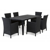 Ruokailuryhmä Liisa Mikaela pöydällä 6 tuolilla grafiitti