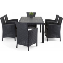 Ruokailuryhmä Liisa Sointu pöydällä 6 tuolilla grafiitti