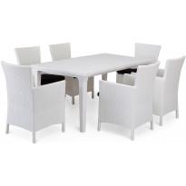 Ruokailuryhmä Liisa Mikaela pöydällä 6 tuolilla, valkoinen