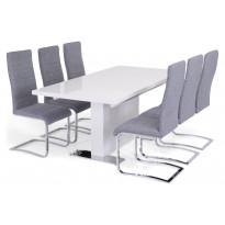 Ruokailuryhmä Apia Nizza tuoleilla valkoinen/harmaa