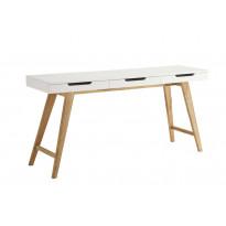 Apupöytä Göteborg 160x40x75 cm 3 laatikkoa valkoinen/puu