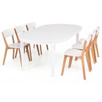 Ruokailuryhmä Haag 6 Brooklyn tuolilla valkoinen, luonnonväri