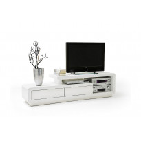 TV-taso Glastonbury 170x45 cm korkeakiiltoinen valkoinen